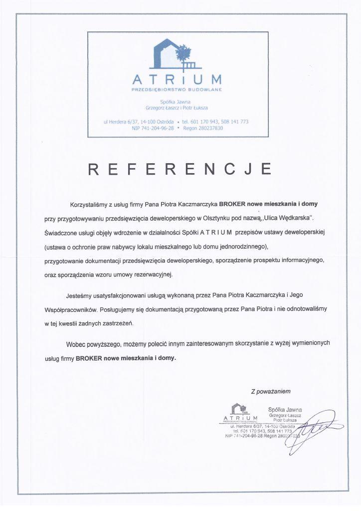 Referencje Atrium ul. Wędkarska, budynki A i B